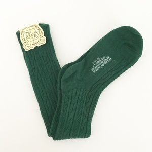 Girls Cable Knit Knee socks Green 6-7 New